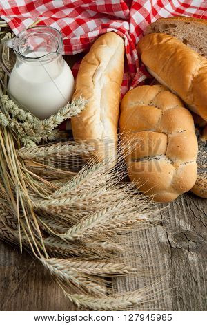 Lot Of Bread With Milk And Spikes
