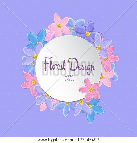 Floral circle vector frame. Forget-me-not flowers and place for your text on violet polka dot background.