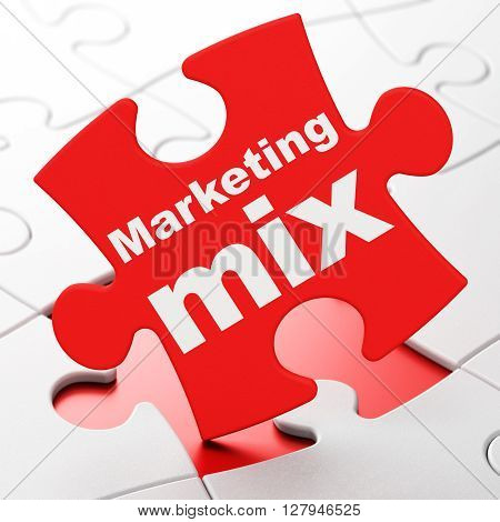 Advertising concept: Marketing Mix on Red puzzle pieces background, 3D rendering