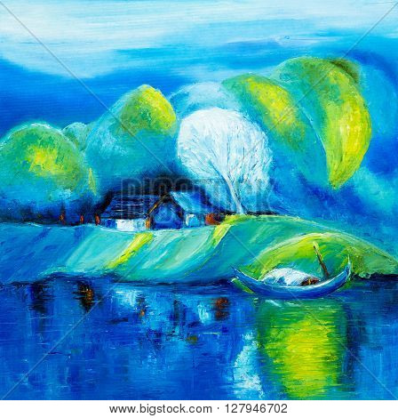 Original oil painting showing lakeboat and house landscape on canvas. Modern Impressionism modernismmarinism
