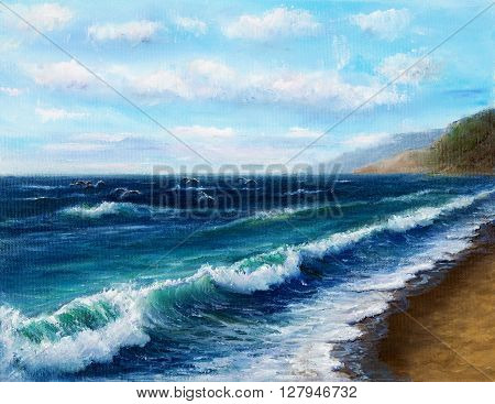 Original oil painting showing ocean or sea on canvas. Modern Impressionism modernismmarinism