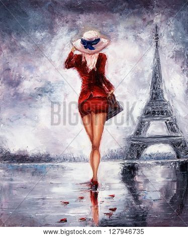 Original oil painting showing beautiful young woman in red dress and white cappella hat walking towards the Eiffel tour in Paris on canvas. Modern Impressionism modernismmarinism