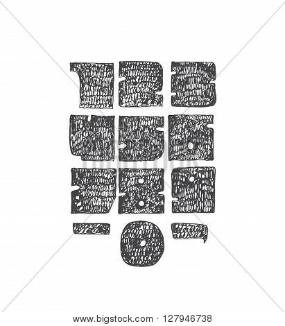 Hand drawn large digits from 0 to 9 with punctuation marks. Perfect for creative lettering massive solid hatched with thin nib and brush. Numbers made in solid geometric style isolated on white background