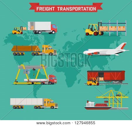Cool vector volumetric set on worldwide shipping, heavy transport, delivery ways and logistics in business and industry with warehouse, trucks, airplane, railway and seaway cargo ship with abstract world map