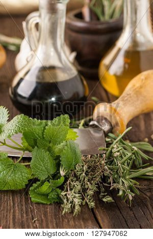 Oil And Vinegar, Gralic, Knife With Herb