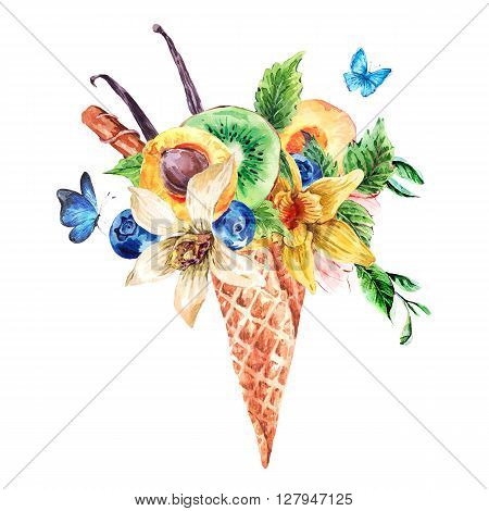 Summer hand drawing watercolor greeting card with a fruity cocktail in waffle cone, flowers natural isolated illustration, Berries in waffle cones