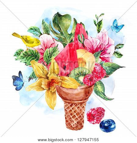 Summer hand drawing watercolor greeting card with a fruity cocktail in waffle cone, flowers isolated natural illustration, Berries, bird in waffle cones