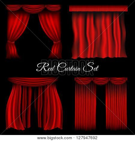 Red curtains. Vector various curtains on transparent background