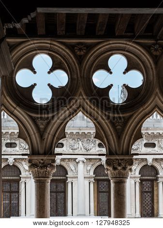 Detail Of Doge's Palace Arcade: Gothic Architecture In Venice, Italy