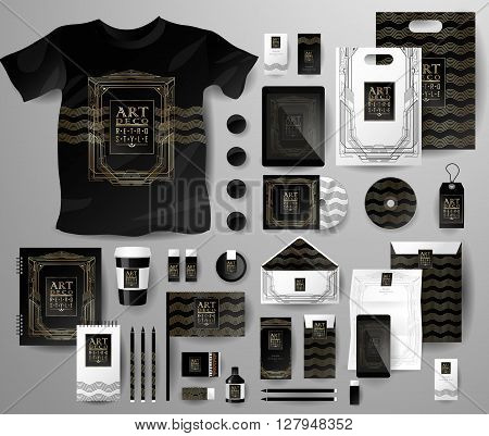 Abstract  business set in Art deco style . Corporate identity templates, notebook, card, flag, T-shirt, disk, package,  label, envelope, pen, Tablet PC, Mobile Phone, matches, ink, pencil, paper cup, forms, folders for documents, invitation card