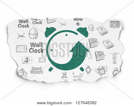 Time concept: Painted green Alarm Clock icon on Torn Paper background with  Hand Drawing Time Icons