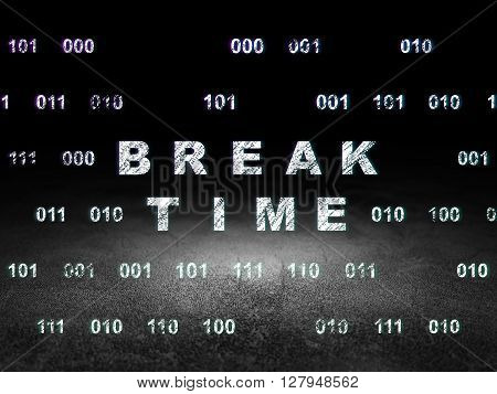 Time concept: Glowing text Break Time in grunge dark room with Dirty Floor, black background with Binary Code