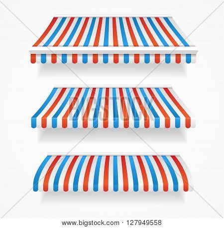 Striped Colorful Awnings Set. Three Types. Vector illustration