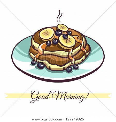 Hand drawn pancakes with syrup, bananas and blueberries on a plate. Pancakes in cartoon style isolated on white background. Vector illustration.