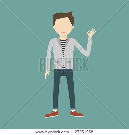 A happy young man gesturing OK. Sign vector flat design illustration isolated. Business, startup, gesture and people concept. Happy businessman or creative male office worker showing OK hand sign