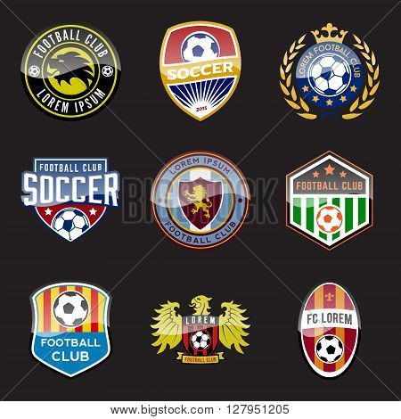 set of football (soccer) crests and badges. vector illustration