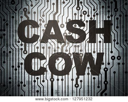 Business concept: circuit board with  word Cash Cow, 3D rendering