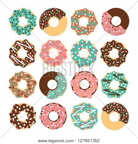 Vector donut set. Vector donut collectin. Donut isolated on a white background. Deserts food in a flat style. Sweet donuts with frosting and caramel topping. Donuts icons. Donut isolated.