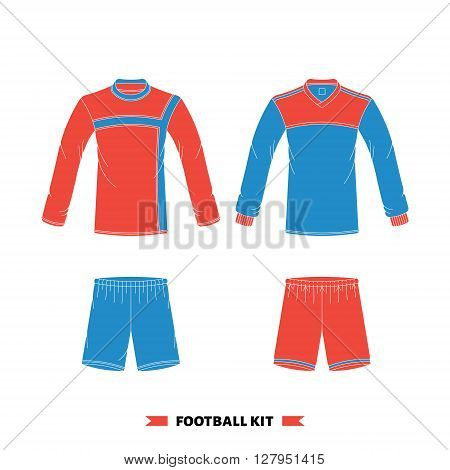 Vector soccer uniform. Vector soccer jersey. Football kit set. Isolated soccer uniform on white background. Soccer uniform set.