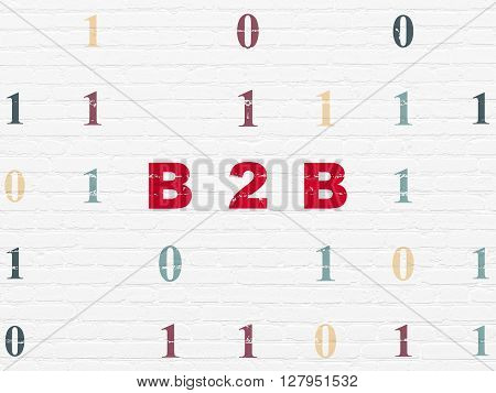 Business concept: Painted red text B2b on White Brick wall background with Binary Code