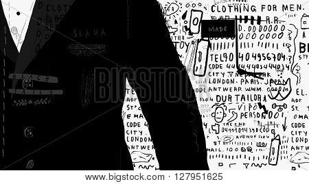 The symbolic image of a man in black jacket