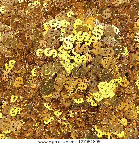 background of golden dollars piled up in a heap 3d illustration