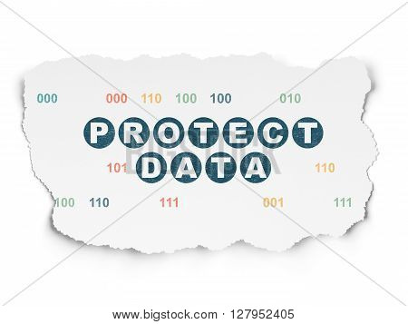 Privacy concept: Painted blue text Protect Data on Torn Paper background with  Binary Code