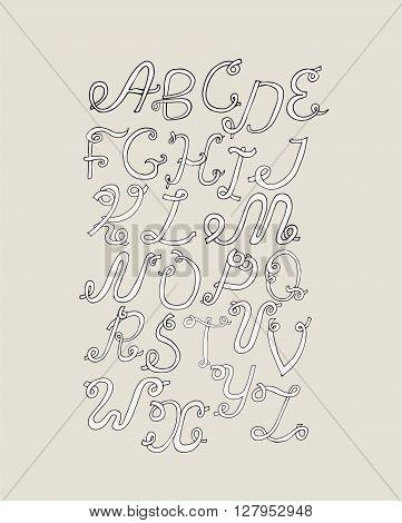 Hand-drawn ABC funky letters isolated on light background. Hand drawn grunge alphabet vector creative illustration. Font based on swirl loops and calligraphy style. Unique design for your print or lettering