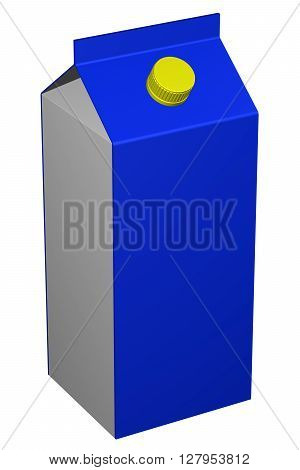 Carton of milk isolated on white background. 3D rendering.