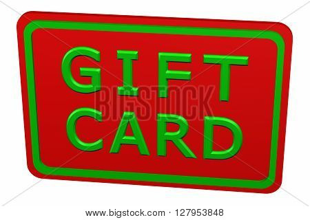 Gift card isolated on white background. 3D rendering.