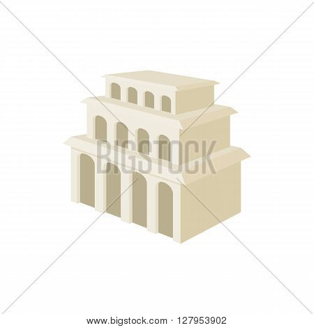 Building with arches and high windows icon in cartoon style on a white background