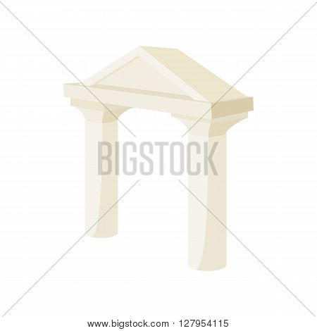 Ancient arch icon in cartoon style on a white background