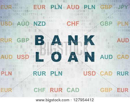 Money concept: Painted blue text Bank Loan on Digital Data Paper background with Currency