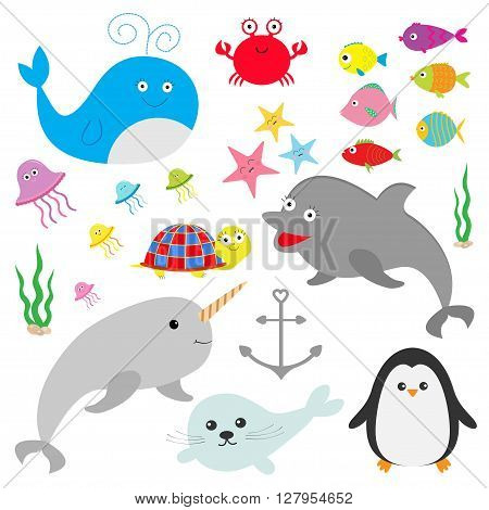 Sea ocean animal fauna set. Fish whaledolphin turtle star crab jellyfish anchor seaweed waves Cute cartoon character collection Isolated White background Flat design Vector illustration