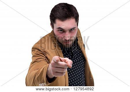 Bearded brunette man with forefinger on white background