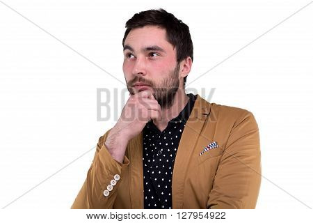 Bearded man in jacket on white background