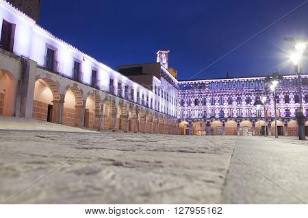 Badajoz, Spain - April 2, 2016:  Hight square or Plaza Alta  illuminated by led lights at twilight
