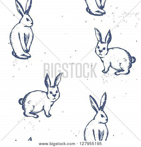 Seamless vector pattern with rabbits in sketch style. Vintage texture with rabbits