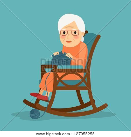 Granny knitting in her rocking chair. Vector illustration
