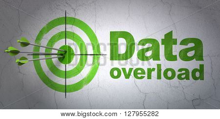 Success Data concept: arrows hitting the center of target, Green Data Overload on wall background, 3D rendering