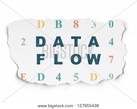 Data concept: Painted blue text Data Flow on Torn Paper background with  Hexadecimal Code