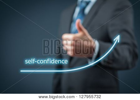 Self-confidence improvement concept. Businessman is satisfied with growing self-confidence.