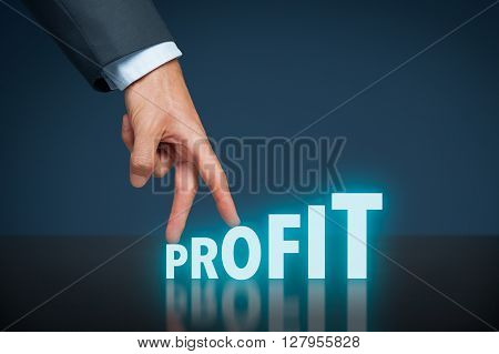 Increase profit concept. Businessman represented by hand rise on increasing letters on word profit.
