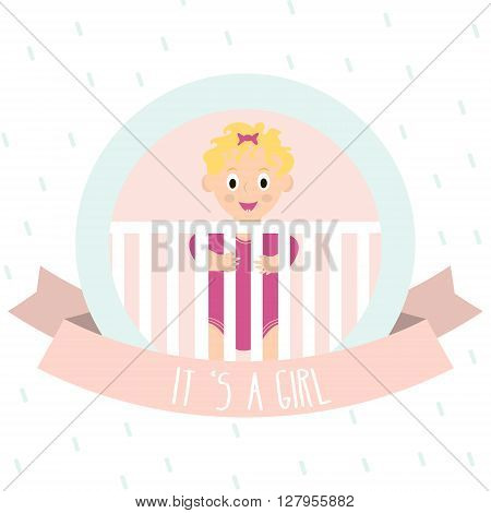 Cute baby girl. Little baby in baby cot. Vector Illustration