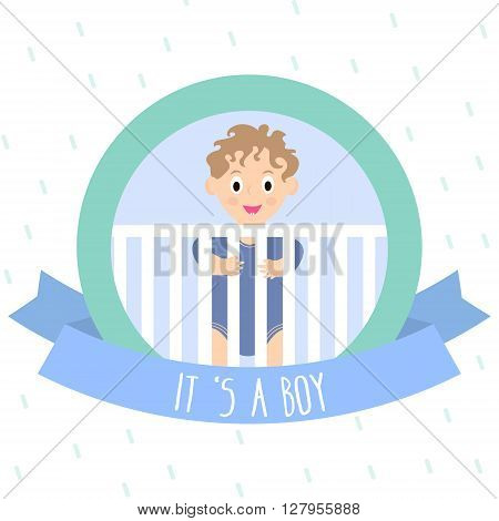 Cute baby boy. Little baby in baby cot. Vector Illustration