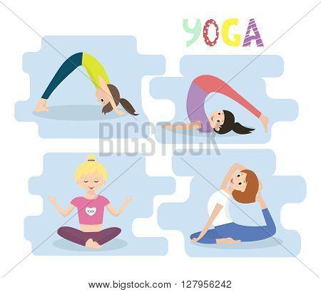 Set with beautiful women exercising various different yoga poses training. Women yoga exercises. Yoga poses set.