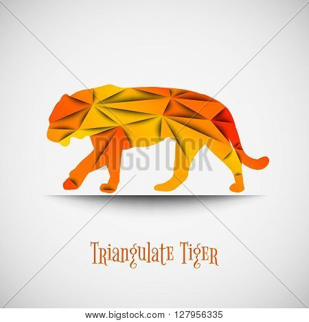 Low poly tiger. Triangulate wilde animals. Orange tiger as origami. Walking tiger on the light background. Vector tiger.