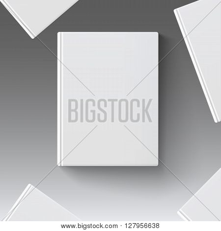 Blank book cover, vector illustration gradient mesh. Isolated objects template for design and branding. Mock-up of book