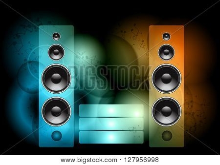 vector speakers on the neon color background