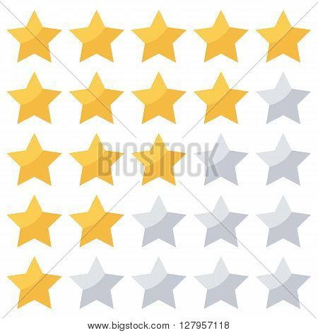 Golden stars rating isolated on white background.